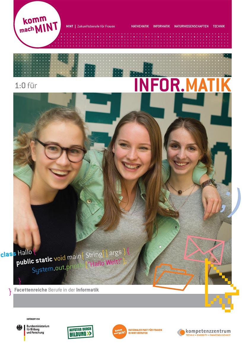 Titelbild der Informatik-Broschüre mit der Aufforderung: Komm, mach MINT.