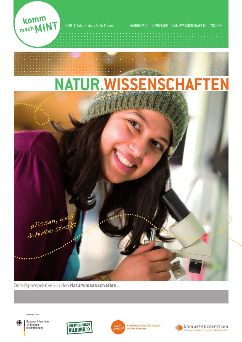 Titelbild der Naturwissenschaften-Broschüre mit der Aufforderung: Komm, mach MINT.